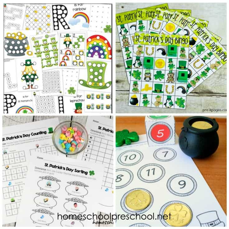 These St Patricks Day printables are sure to keep your preschoolers engaged in learning basic math and literacy skills throughout the holiday season.