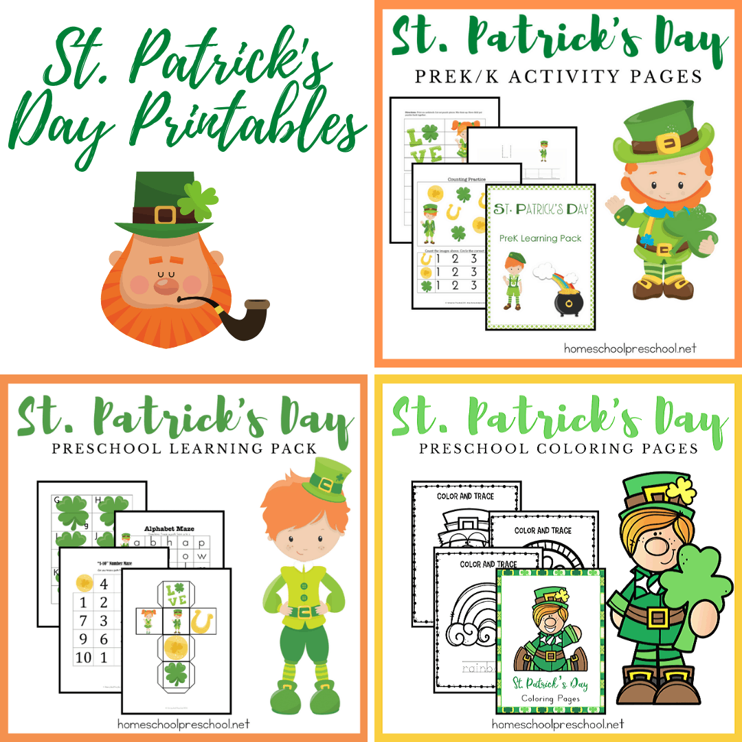 These St Patrick's Day printables are sure to keep your preschoolers engaged in learning basic math and literacy skills throughout the holiday season.