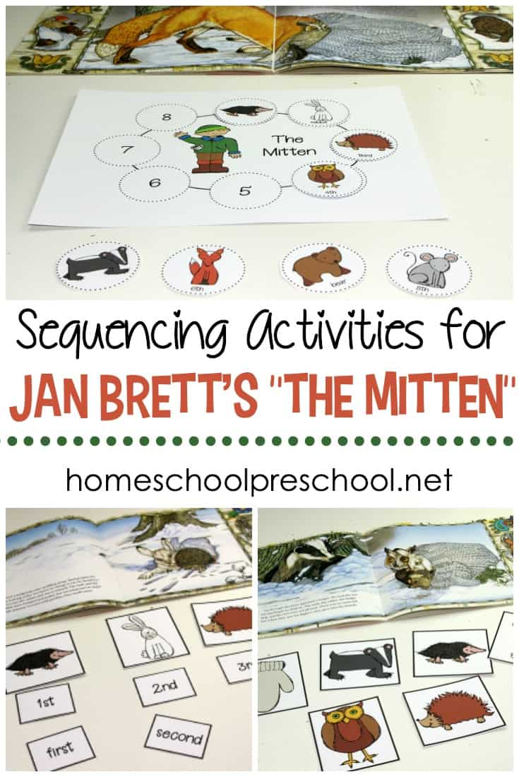Young learners will practice ordering events with this set of  The Mitten story sequence activities. Set includes sequencing discs, mat, and character cards.