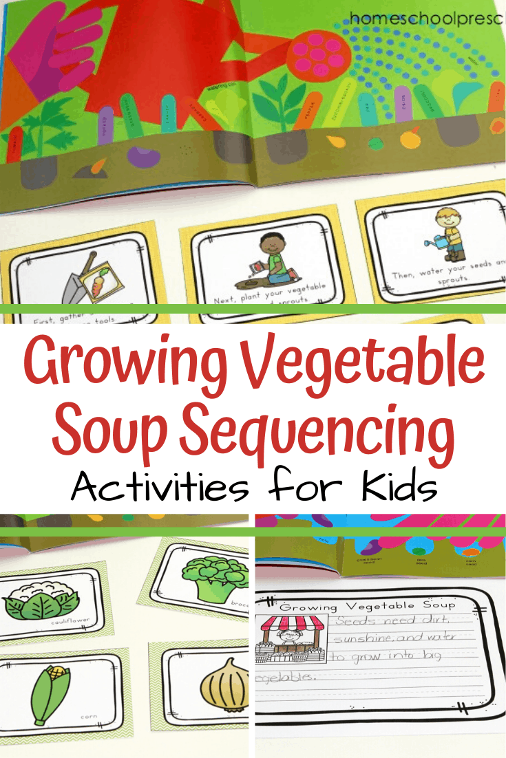 Growing Vegetable Soup story sequence cards are a great way to help students retell this simple story. Includes picture cards, sequencing mat, and more.