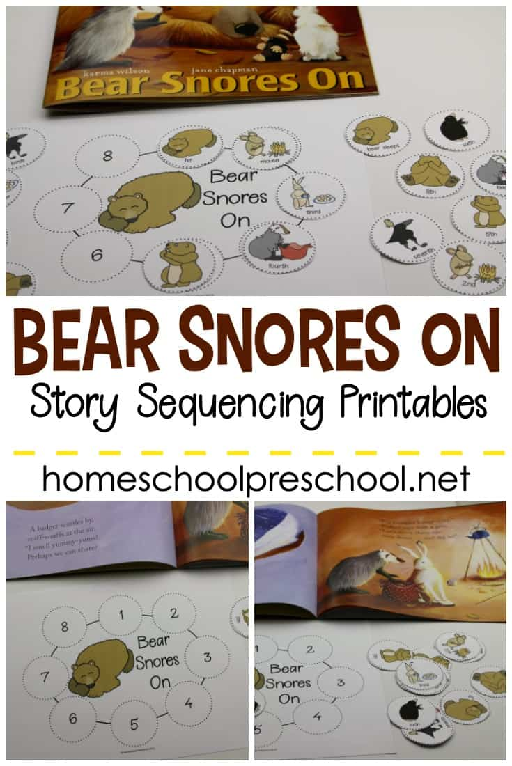 These Bear Snores On sequencing cards are a great way to talk about animals and hibernation. Practice retelling and sequencing the story.