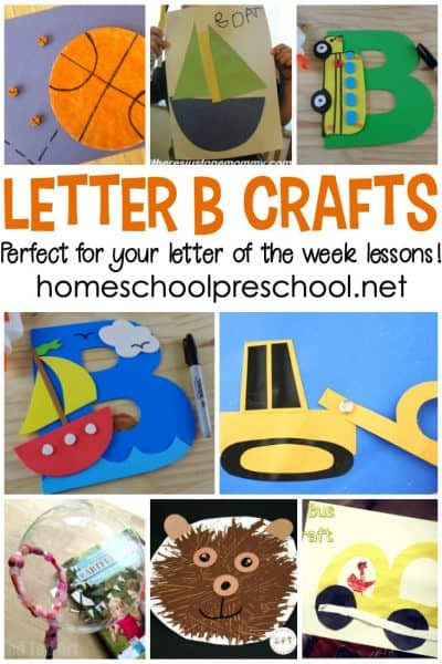 """Don't miss this amazing collection of crafts to teach Letter B featuring 20 different """"Bb"""" words! They're perfect for your Letter of the Week plans!"""