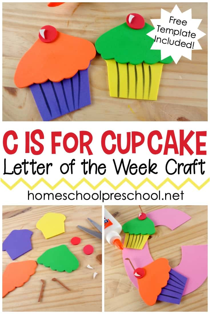 This C is for Cupcake preschool craft is perfect for your letter of the week lesson plans. It also pairs well with If You Give a Cat a Cupcake!