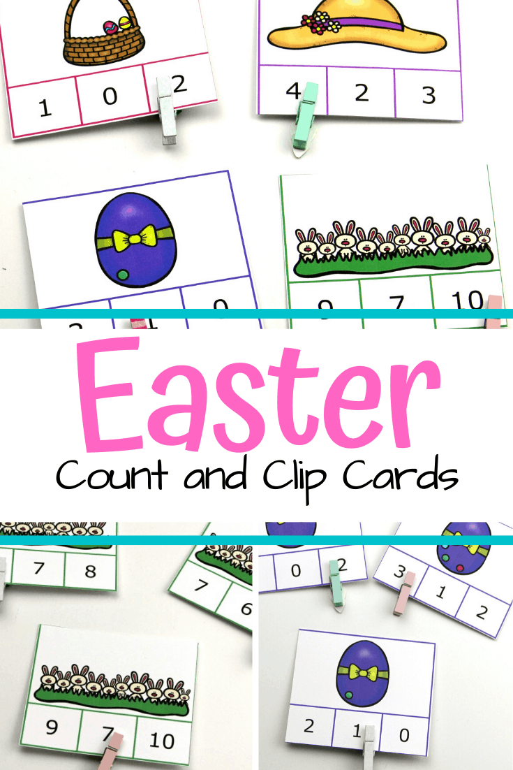Kids can practice number recognition and counting to ten with these Easter math count and clip cards. This activity is great for fine motor practice, too.
