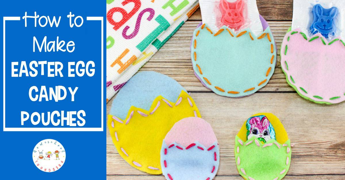 Are you looking for a unique Easter craft for preschoolers? Let them practice lacing these felt Easter egg pouches. Then fill them with candy!