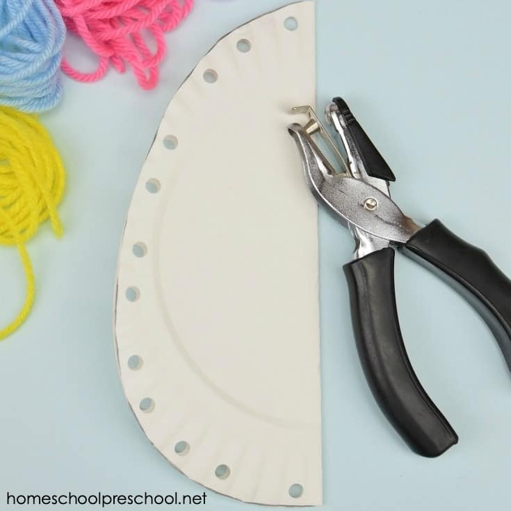 This activity is super easy to prep, and it provides lots of lacing and fine motor practice for young children. Even kids as old as 8-10 could benefit from this craft.