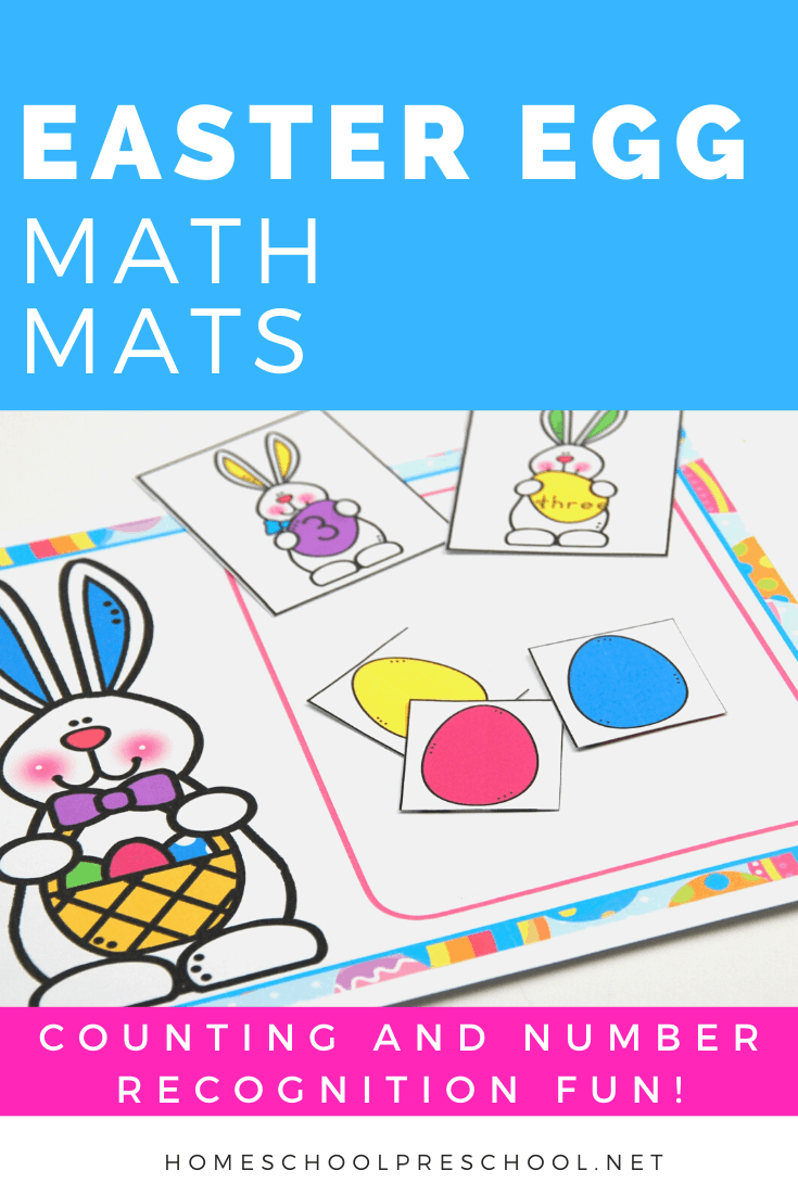 Your preschoolers will love counting to ten with these Easter egg math mats! Focus on number recognition, number words, and counting with this free preschool printable.