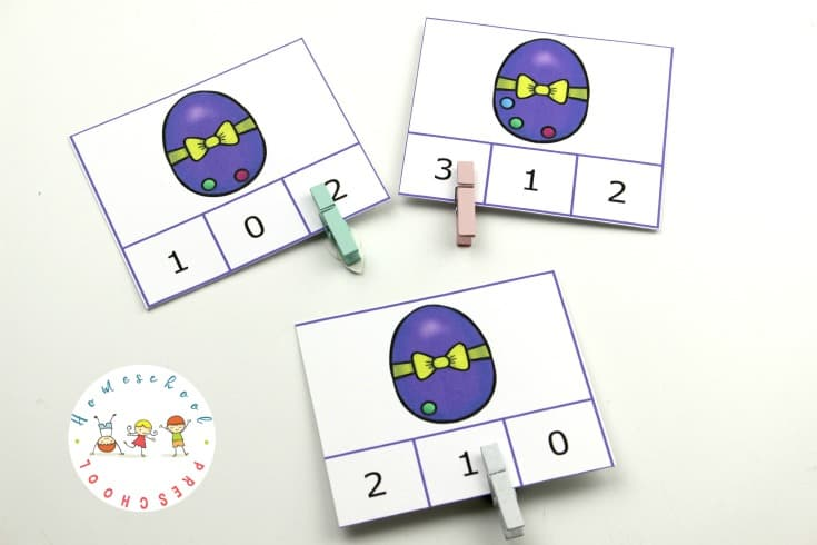 Kids can practice number recognition and counting to ten with these Easter count and clip cards. They are great for fine motor practice, too.