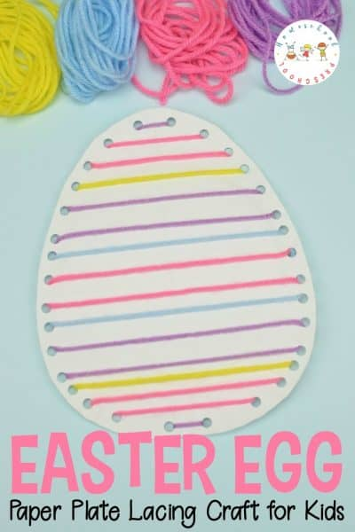 Lacing crafts are great for kids! They will build fine motor skills as they complete this fun Easter egg paper plate craft for kids!