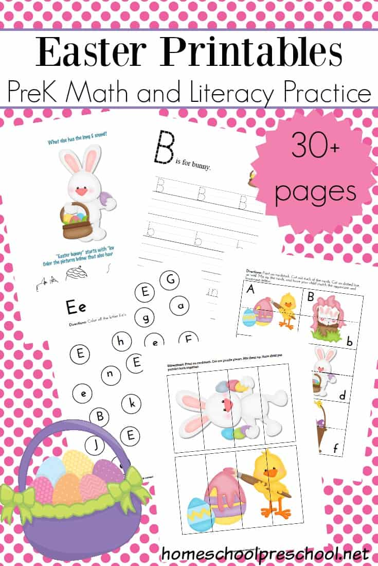 This Easter printable is packed full of early math and literacy activities! With over 30 pages, it's sure to keep your preschoolers busy all season!