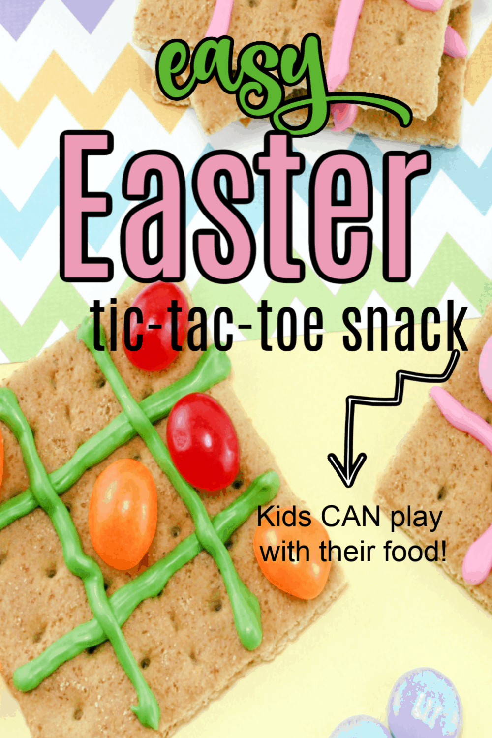 You will be the coolest mom in your playgroup when you bring this fun graham cracker tic tac toe Easter snack to your next playdate!