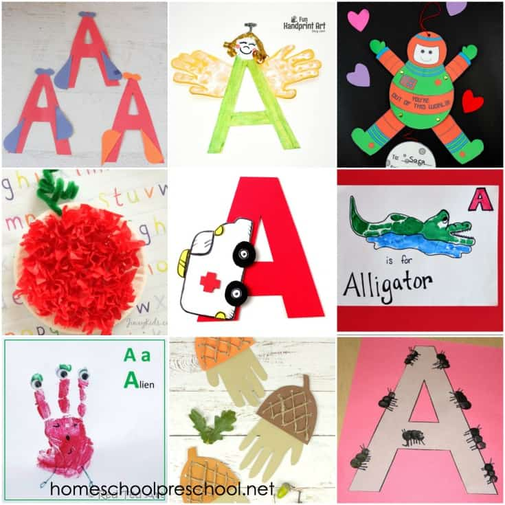 "You're going to want to add these ideas to your Letter of the Week plans! Come discover crafts to teach Letter A. There are 9 different ""a"" words featured!"