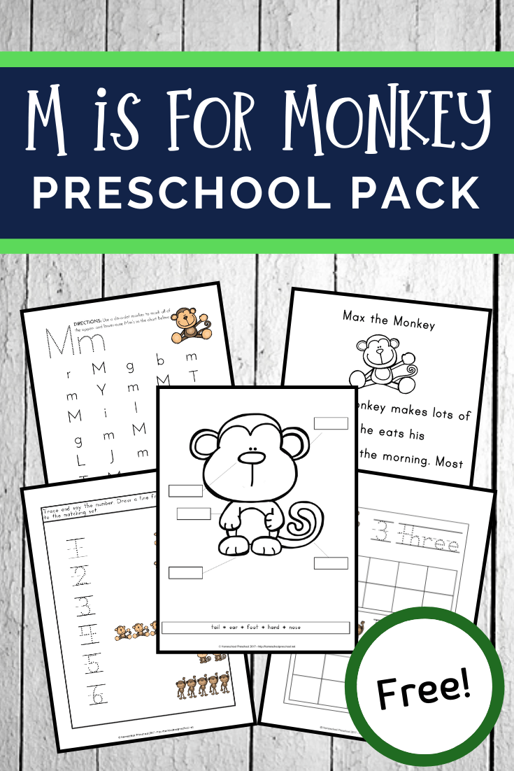 Focusing on the letter M or studying monkeys and zoo animals? This pack of free printable preschool monkey activities makes a great addition to your theme.