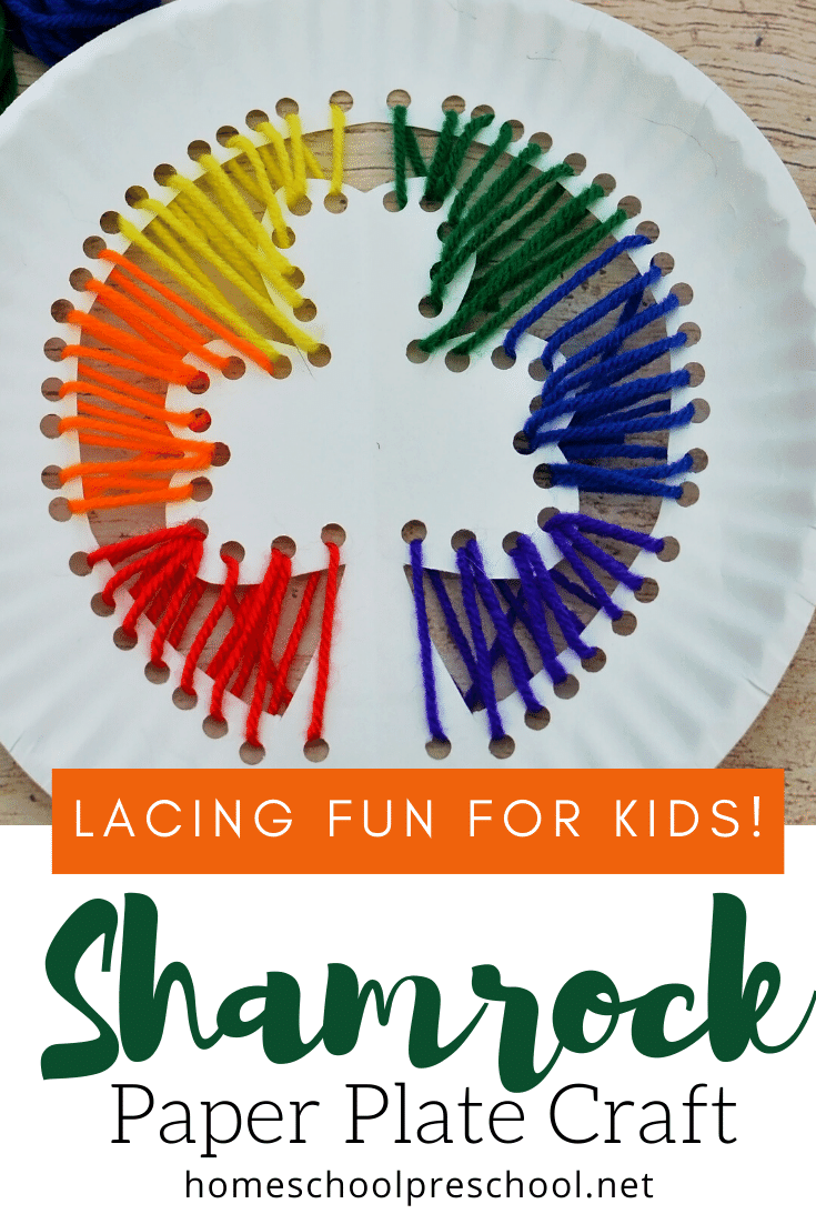 Your little crafters will love this St Patricks preschool shamrock craft! They'll build hand strength and motor skills with this fun lacing craft.