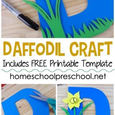 D is for Daffodil Preschool Flower Craft