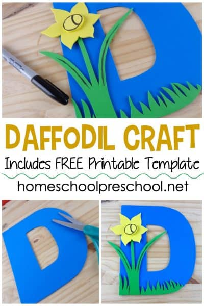 This sweet daffodil preschool flower craft is perfect for spring! The free printable template makes this craft a breeze for little ones to make.