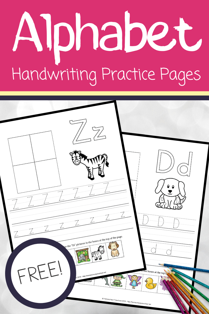 These alphabet pages are perfect for free ABC handwriting practice. They also help teach letter sounds. One hands-on page for each letter of the alphabet!