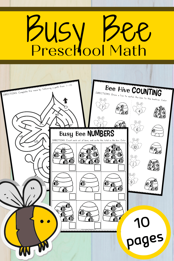This free preschool honey bee math worksheet pack will have young learners buzzing about numbers, counting, and more! Perfect for spring and summer math!