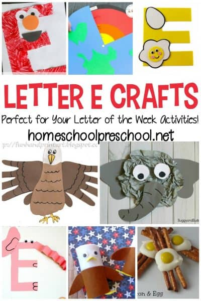 Looking for a some crafts to teach letter Efor your preschooler? Don't miss this awesome collection which contains 12 wonderful ideas!