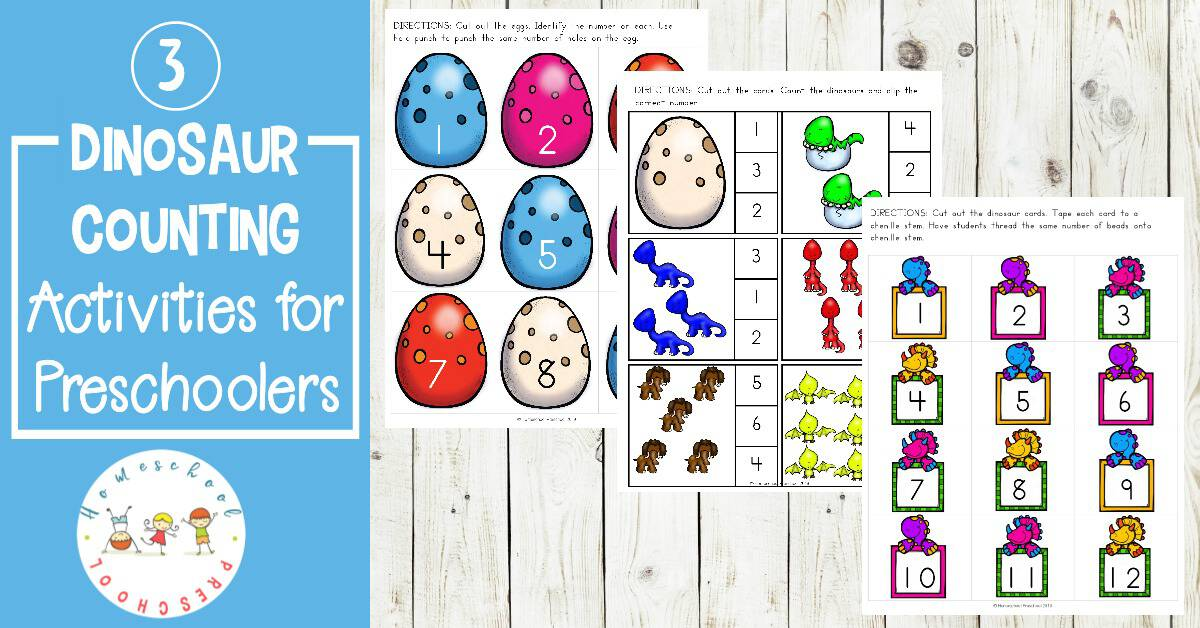 Kids can practice counting while building fine motor skills with three dino-mite dinosaur counting activities for preschoolers!