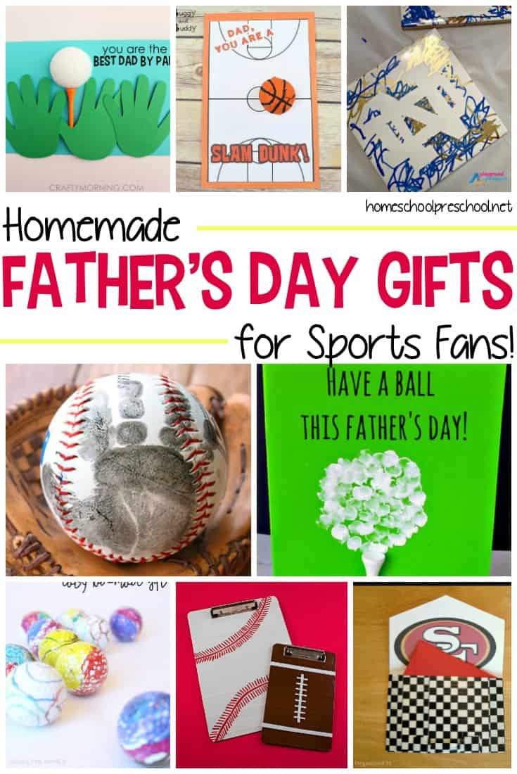 Kids will have a blast making these homemade Fathers Day gifts for sports fans! Perfect for golfers, ball players, and couch fans!