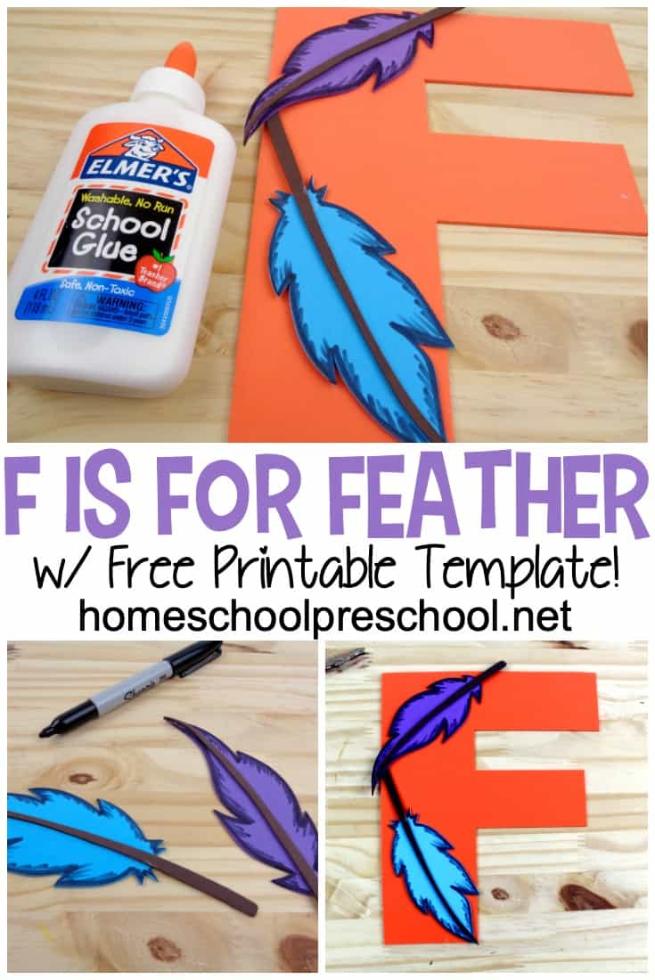 This Letter F Feather Craft works great within your bird unit and in your Letter F (Letter of the Week) preschool activities!