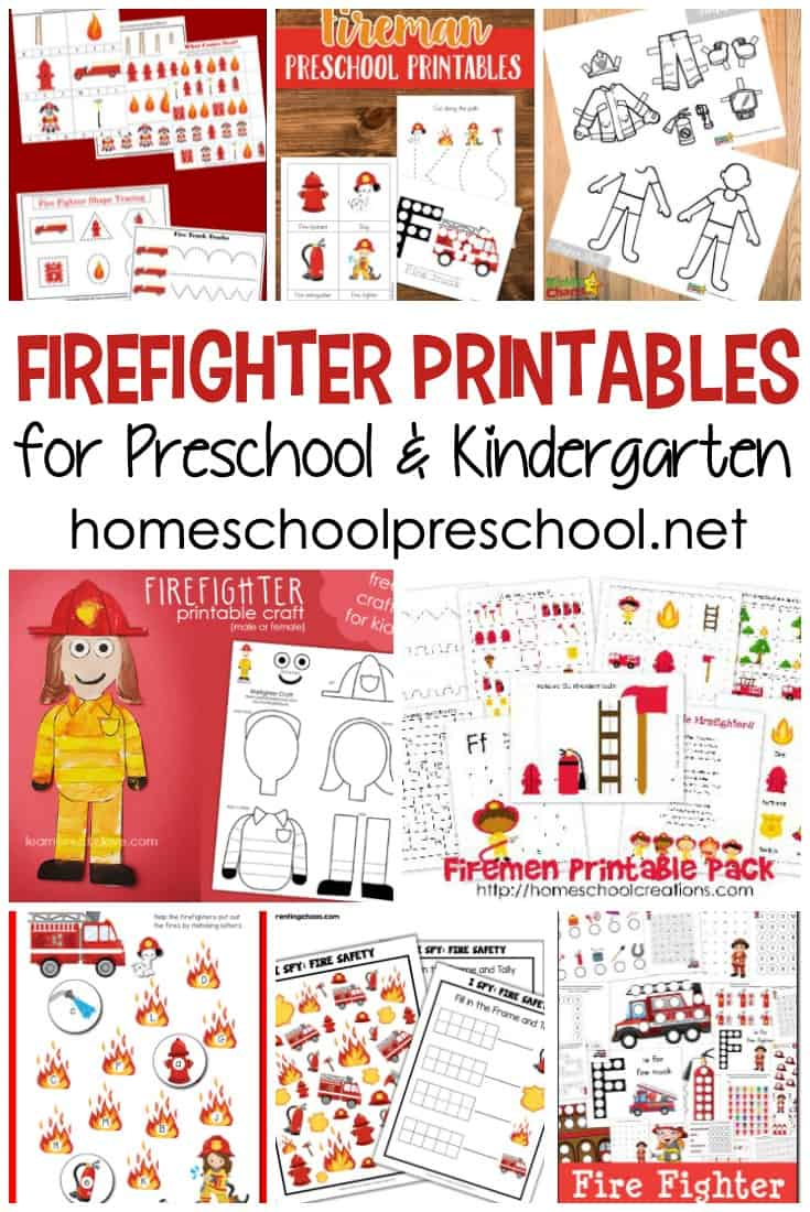 Free firefighter printables for preschool kids! Focus on community helpers and fire safety with these printable learning activities.
