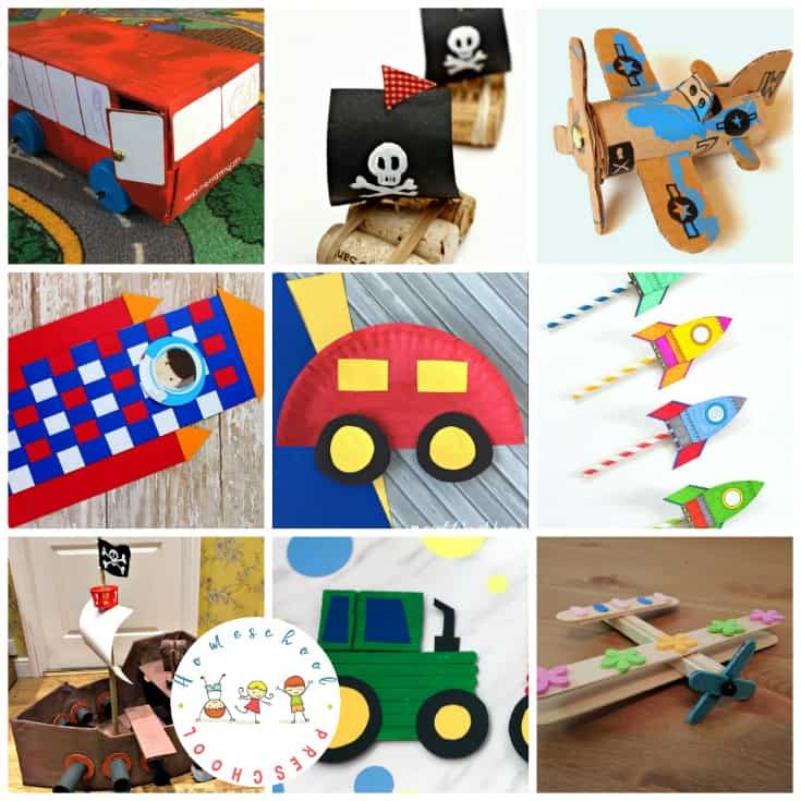 Your little crafters are going to love these preschool transportation crafts! They'll find cars, planes, trains, rockets, and more.
