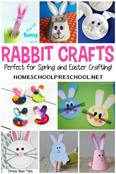 These rabbit crafts for preschoolers are perfect for your Easter, spring, and animal activities! Find masks, puppets, paper plate crafts, and more!