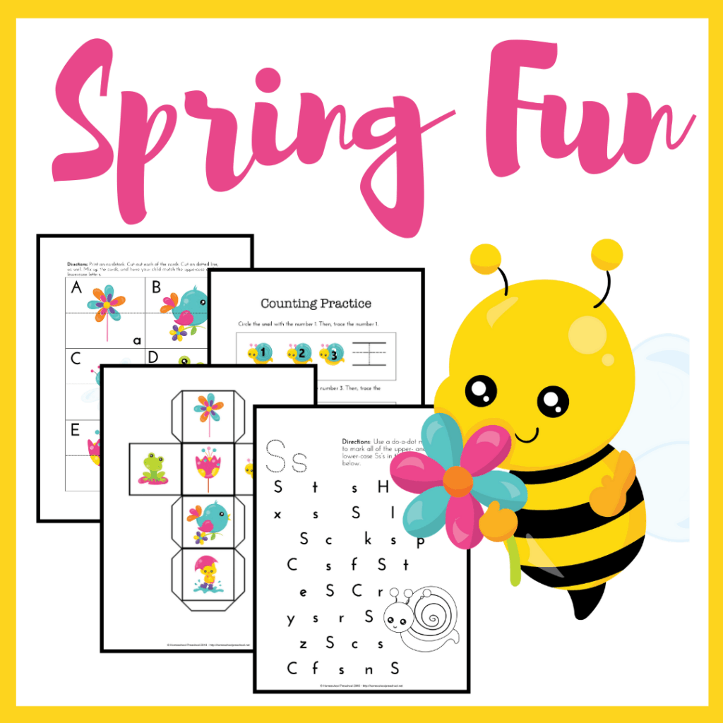 Spring has sprung, and I have some free spring printables for preschool! This spring learning pack is the perfect for kids ages 3-6.