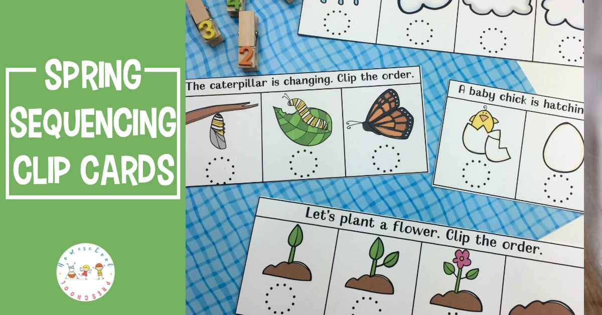 Kids will love ordering the events in this spring sequencing cards printable. This is a great way to introduce preschoolers to sequencing!