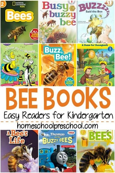 Check out this list of easy readerbee books for kindergarten! Short sentences and large print help kids practice reading with their favorite bee stories!