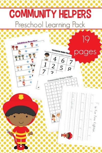 Work on early math and literacy skills with this community helpers preschool learning pack. Counting, addition, handwriting, and more!