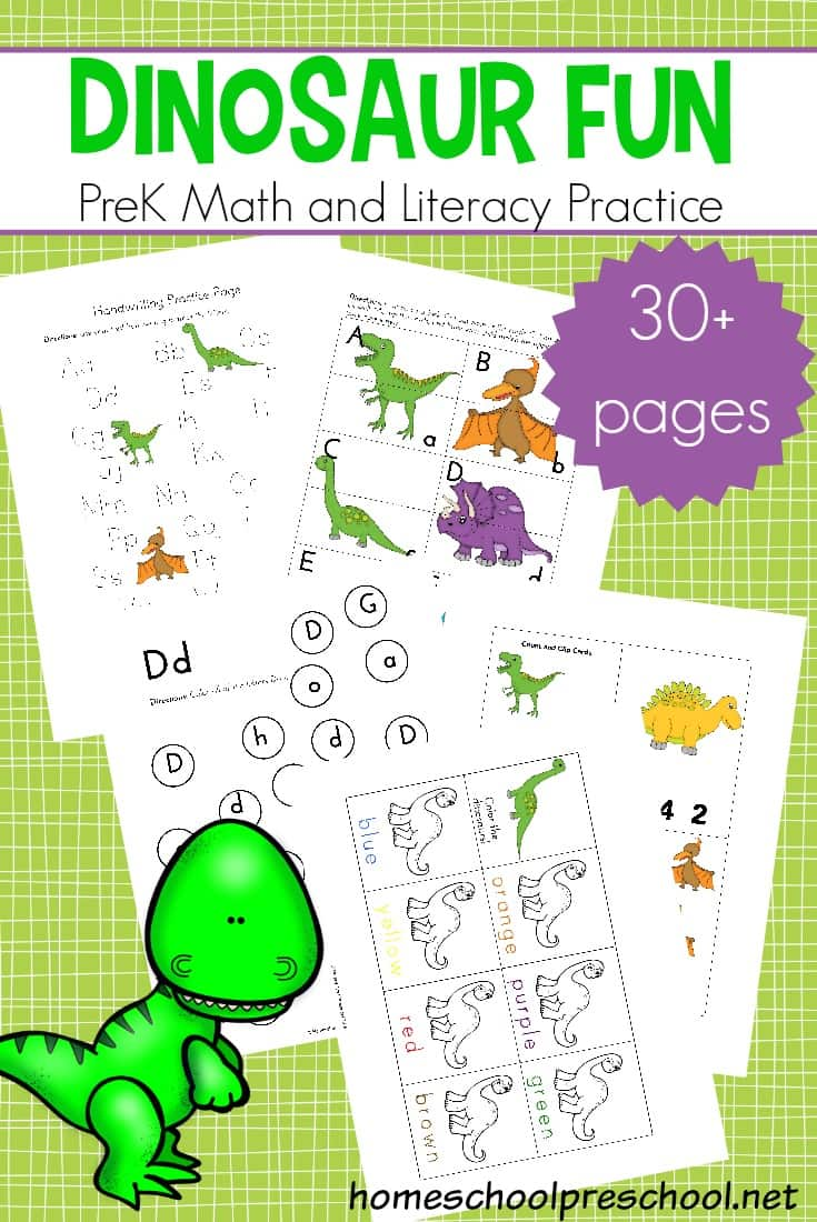 free math and literacy dinosaur printable activities. Black Bedroom Furniture Sets. Home Design Ideas