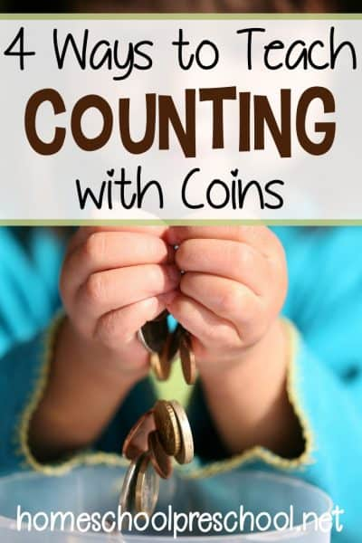 How to teach counting with coins. Four hands-on math activities for preschool and kindergarten kiddos. Make math fun again!