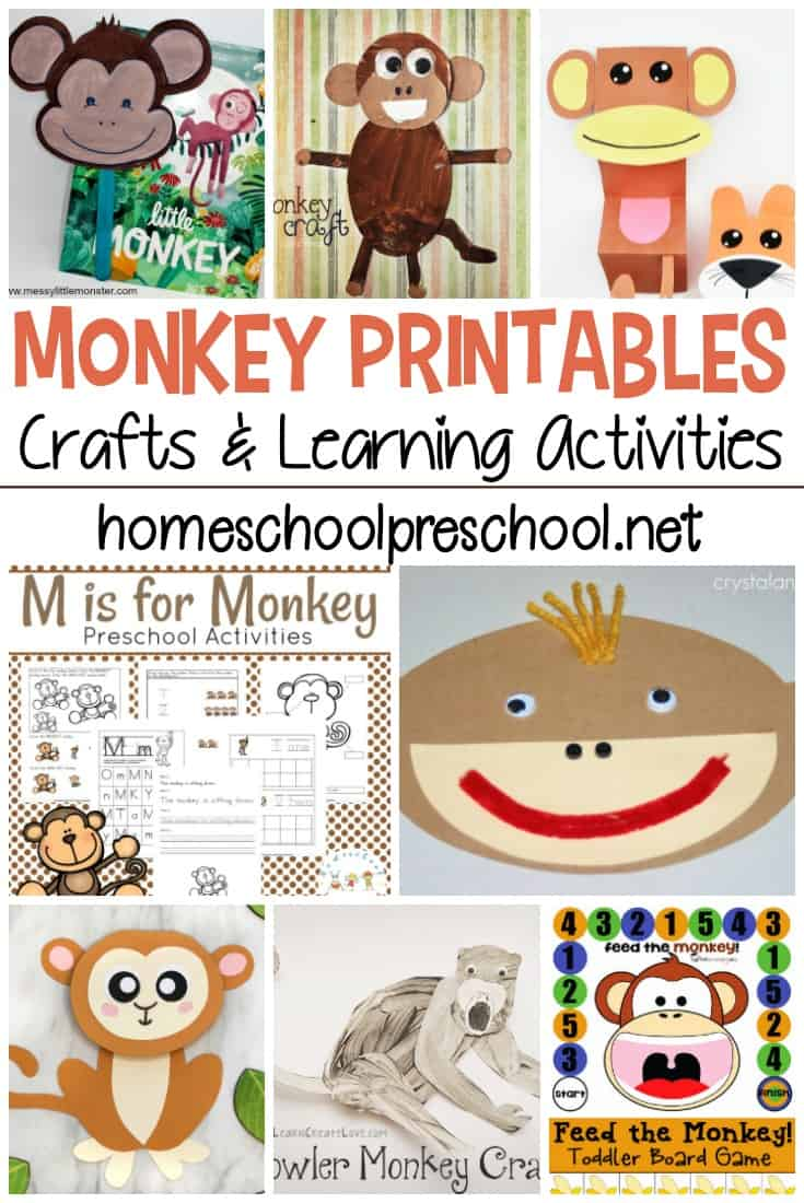 This collection of monkey printables contains crafts, learning activities, and more! Everything you need to build a monkey unit for your preschoolers.