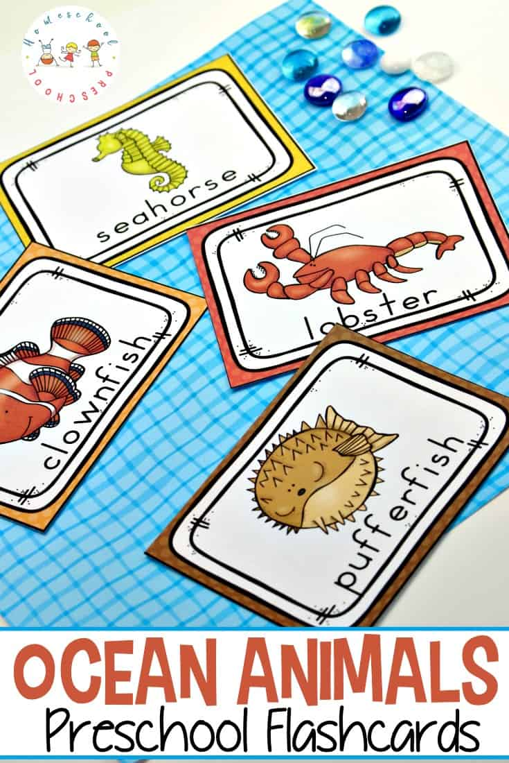 photo relating to How to Make Printable Flashcards called Totally free Printable Ocean Pets Flashcards for Preschoolers