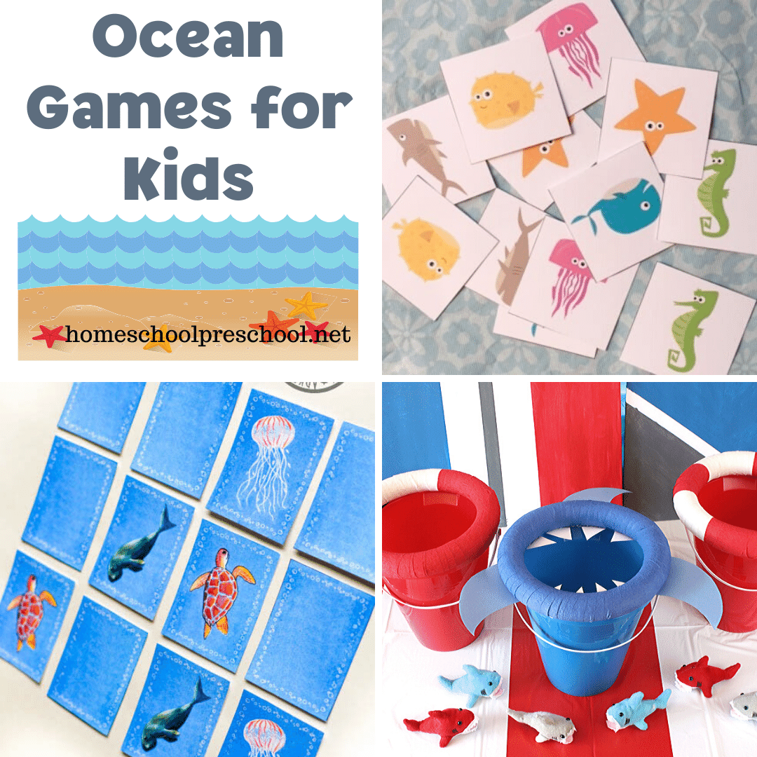 Don't miss these ocean themed games for kids! Add them to your summer preschool lessons about the ocean. They're great for birthday parties, too!