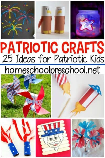 Patriotic crafts for preschoolers. 25 amazing ideas for patriotic kids! Rockets, pinwheels, sensory bottles, and so many more creative ideas.