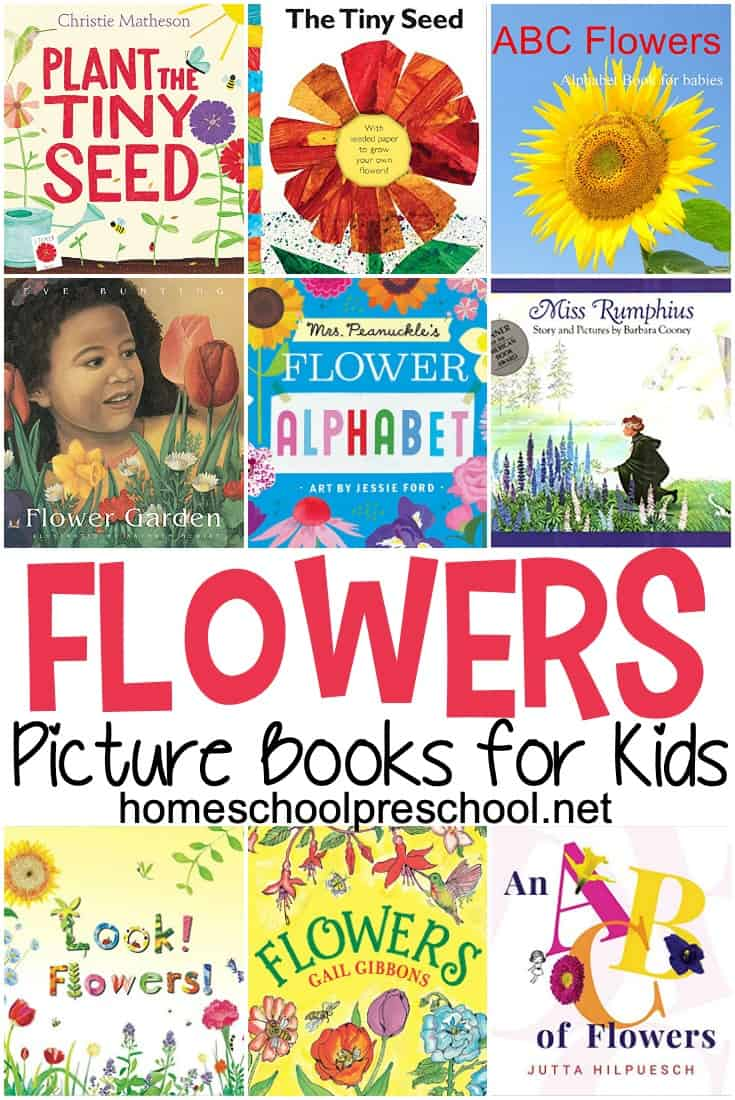 This spring and summer, teach kids about seeds, gardening, and plants with these preschool books about flowers. Fiction and nonfiction selections for kids. #preschool #preschoolbooks #flowerbooks #picture books