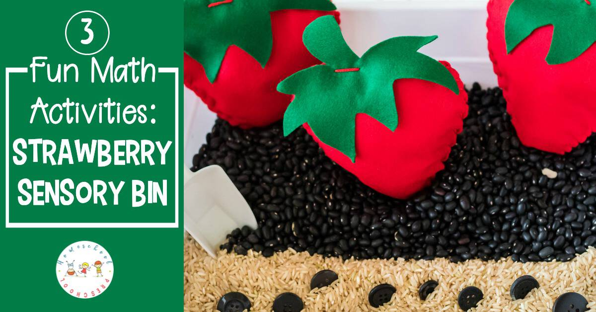 For your preschool strawberry theme create a strawberry math sensory bin. Work on number recognition, counting, and one-to-one correspondence.