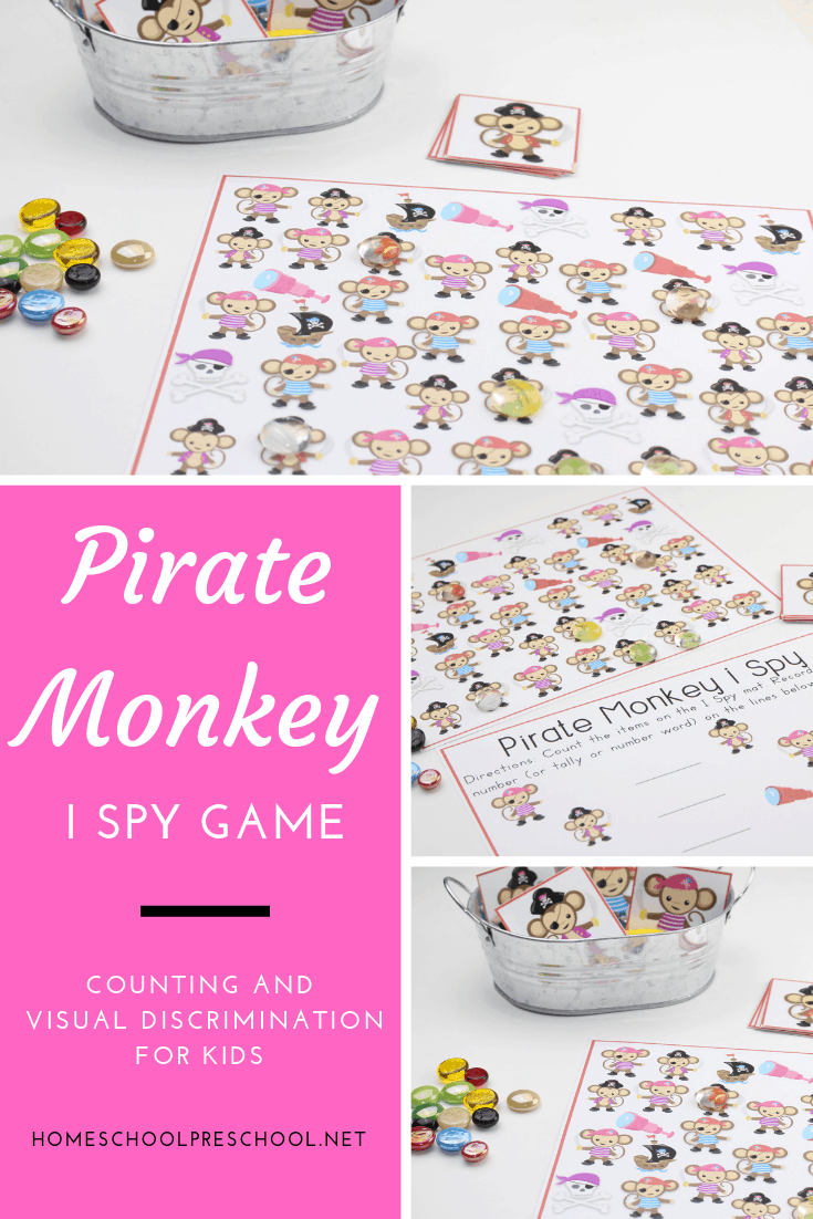 Teach visual discrimination and practice counting with this super fun, low-prep I Spy Pirate Monkey Activity for preschool kiddos!