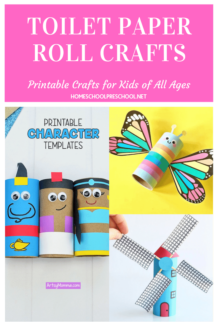 These adorable printable toilet paper roll crafts come with free templates to make your crafting session super easy and fun!