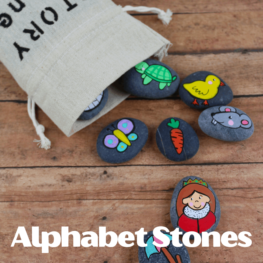 These DIY Alphabet Story Stones are easy to make and a fabulous resources to have on hand when teaching the alphabet to young kids.