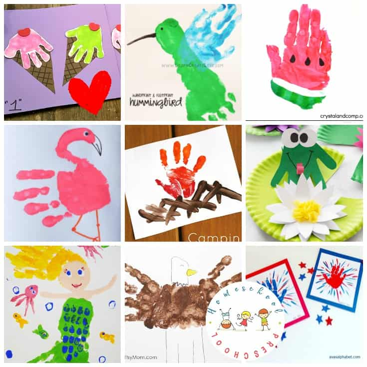 The best summer handprint crafts for preschool or kindergarten kids. Sunshine, ocean animals, and watermelon - they are all here!