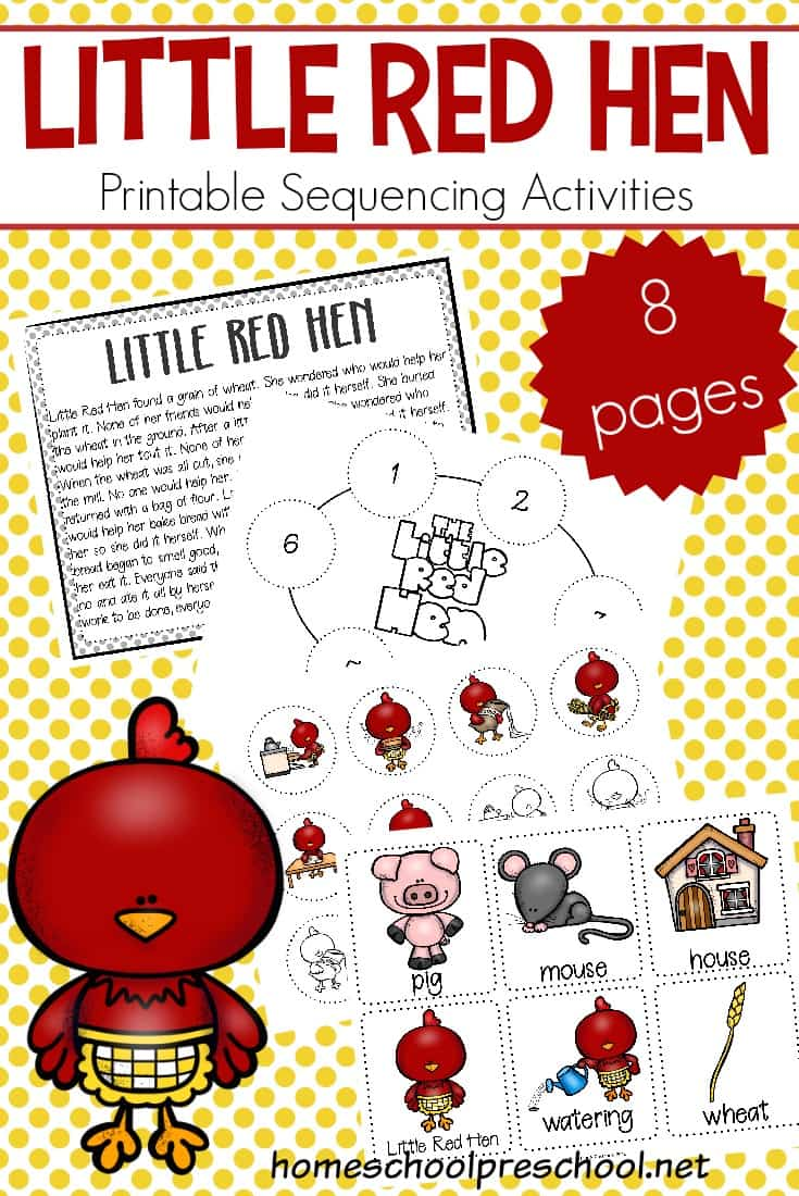 Kids can practice storytelling with these free printable Little Red Hen sequencing cards. They can be used in three hands-on activities.