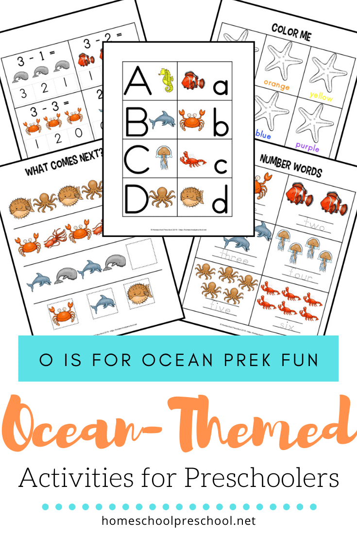 FREE preschool ocean worksheets! These printables focus on colors, alphabet, and math with a fun ocean theme. Perfect for summer preschool lessons!