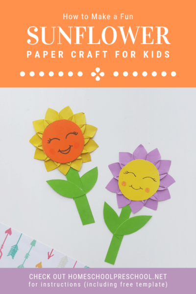 This sunflower paper craft is a great activity for kids to do on a long hot summer day. It is a great opportunity for kids to work on scissor skills.