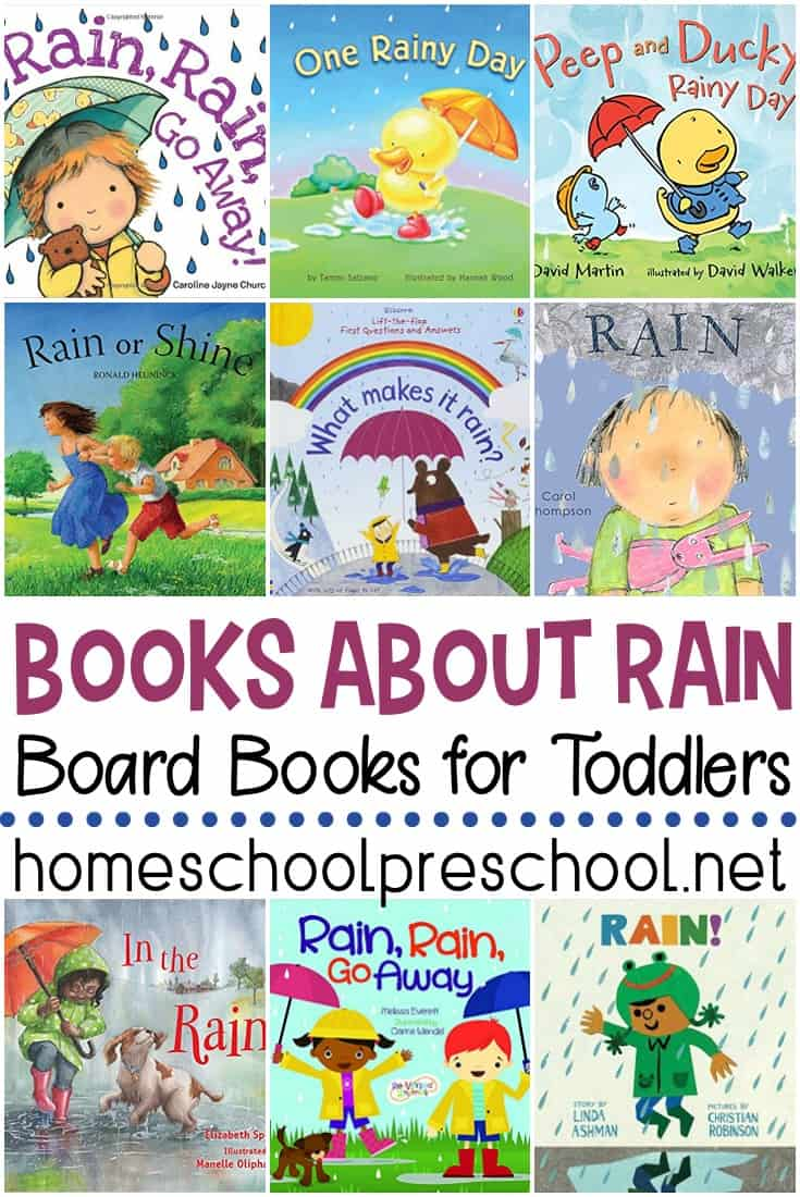 Show toddlers how much fun a rainy day can be with these books about rain for toddlers. This collection of board books is perfect for little ones!