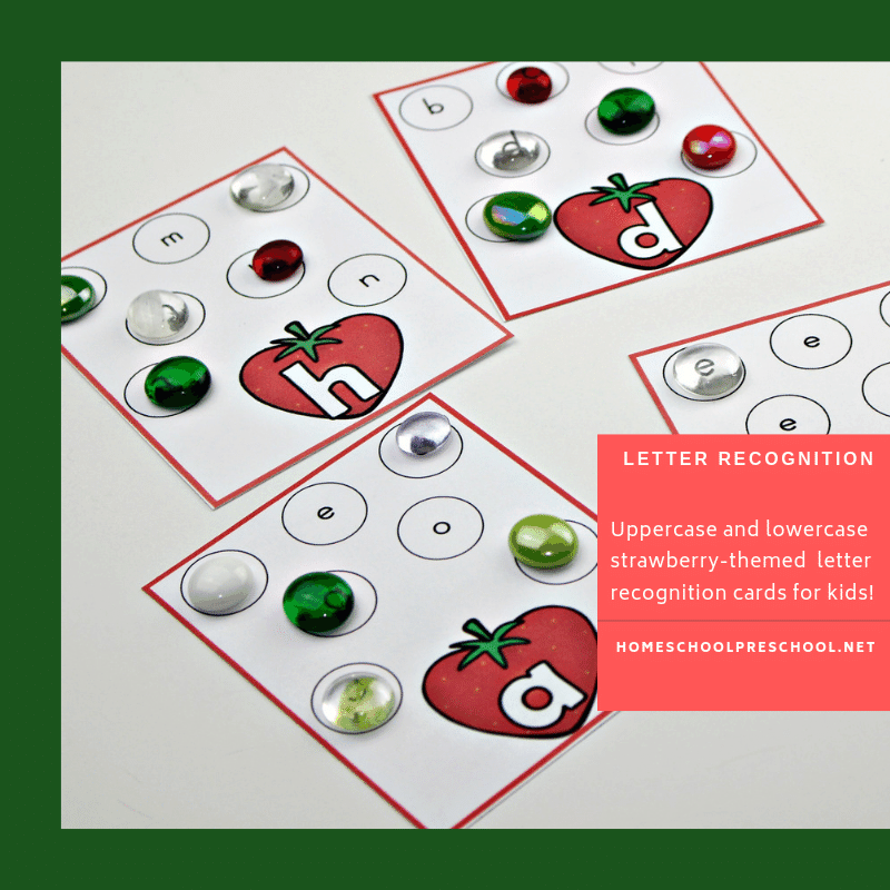 Have fun while teaching children early literacy skills with our fun Strawberry Letter Identification Cards! Great printable for preschool and kindergarten!